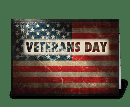Veterans Day American Grunge Flag greeting card