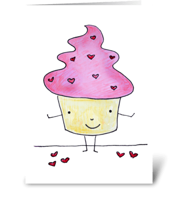 Pink Sweetcake with Hearts greeting card