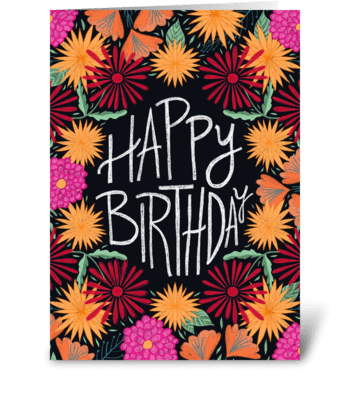 Happy Birthday Flowers greeting card