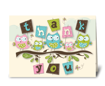 Whoo's Cute Thank You Card greeting card