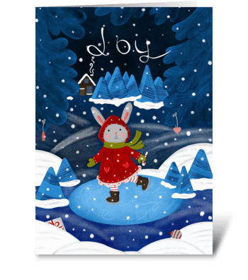 Fairy winter forest greeting card