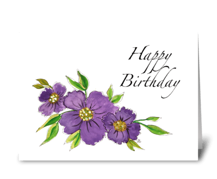 Purple Cosmos Happy Birthday greeting card