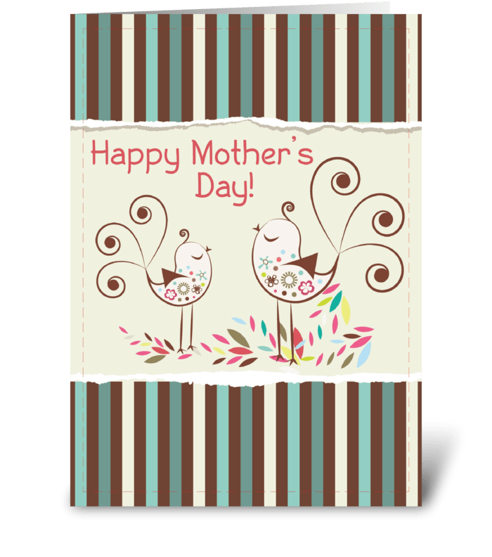 Happy Mother's Day, Cute Birds on Stripe greeting card