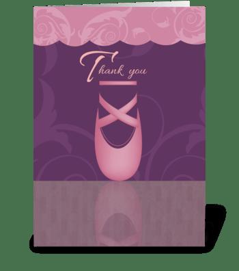 Ballet Slipper - Thank You greeting card