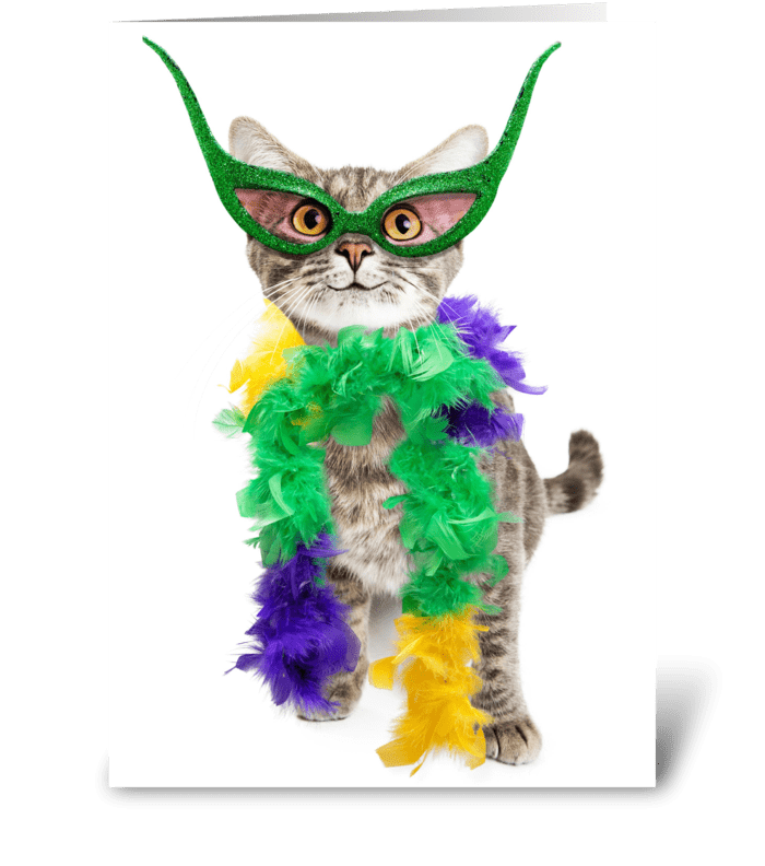 Mardi Gras Party Cat greeting card