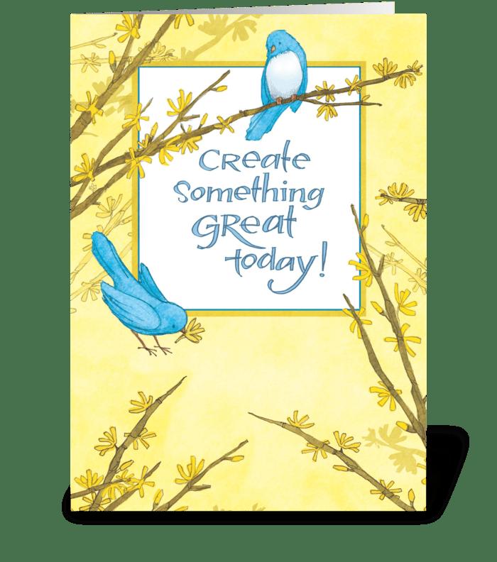 Blue Birds Forsythia greeting card
