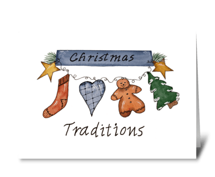 Christmas Traditions Watercolor Ink Card greeting card