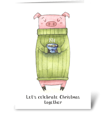 Holiday Pig Fun greeting card