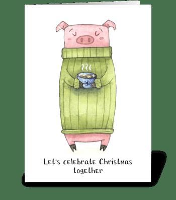 Holiday Pig Fun greeting card