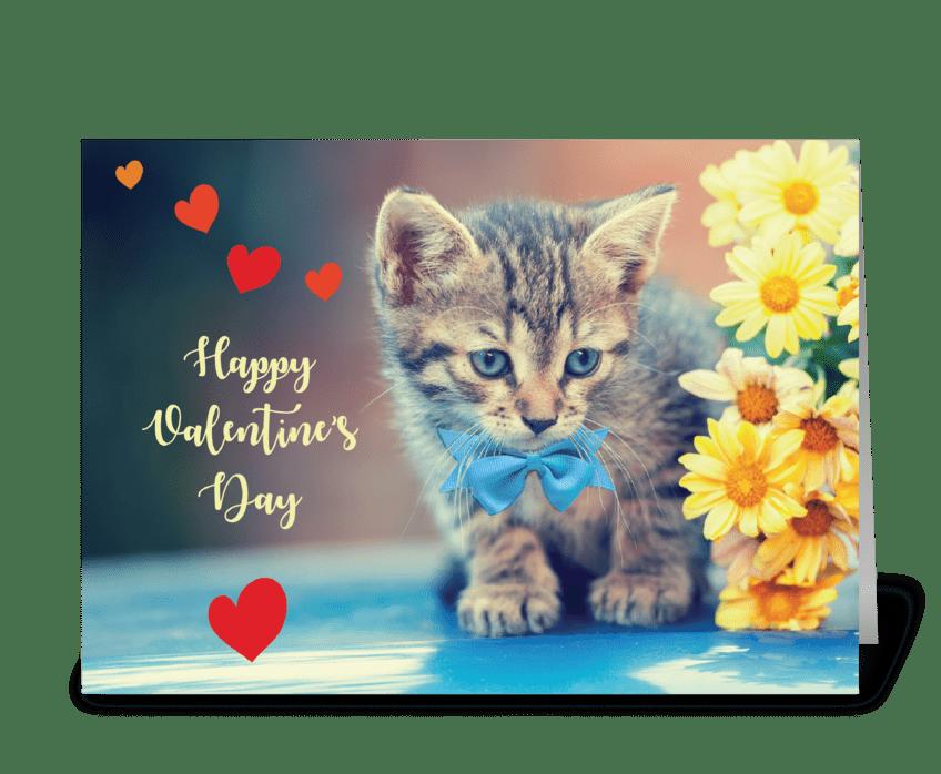 Love Valentine Kitten w/ Yellow Daisies greeting card
