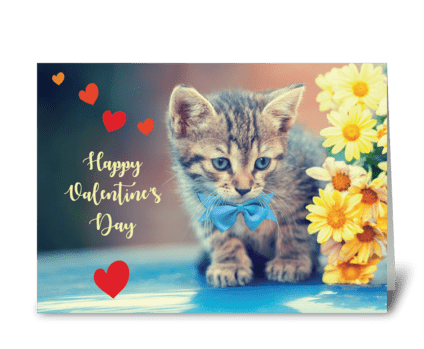 Love Valentine Kitten w/ Yellow Daisies greeting card