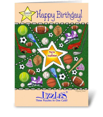 Sports Birthday Puzzle Card greeting card
