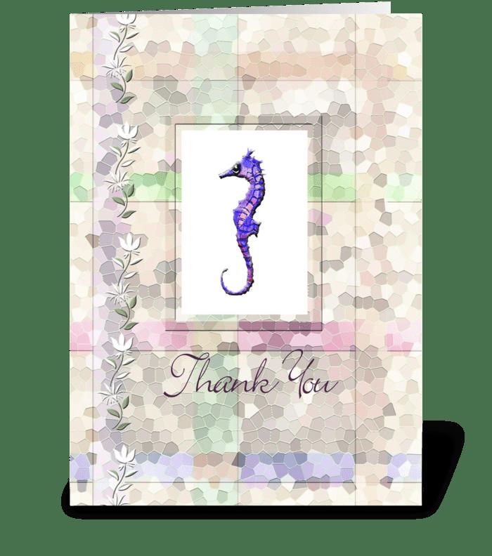 Sea Horse, Thank you Card greeting card