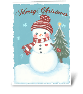 Cozy Christmas Snowman greeting card