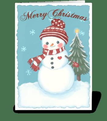 Cozy Christmas Snowman greeting card