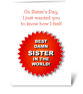 Sister's Day Card  Image of a Badge greeting card
