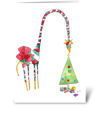 Giraffe Christmas Present greeting card