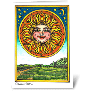 Classic Sun greeting card