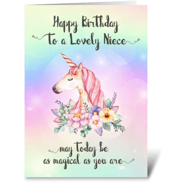 Whimsical Unicorn Niece Birthday Card   greeting card