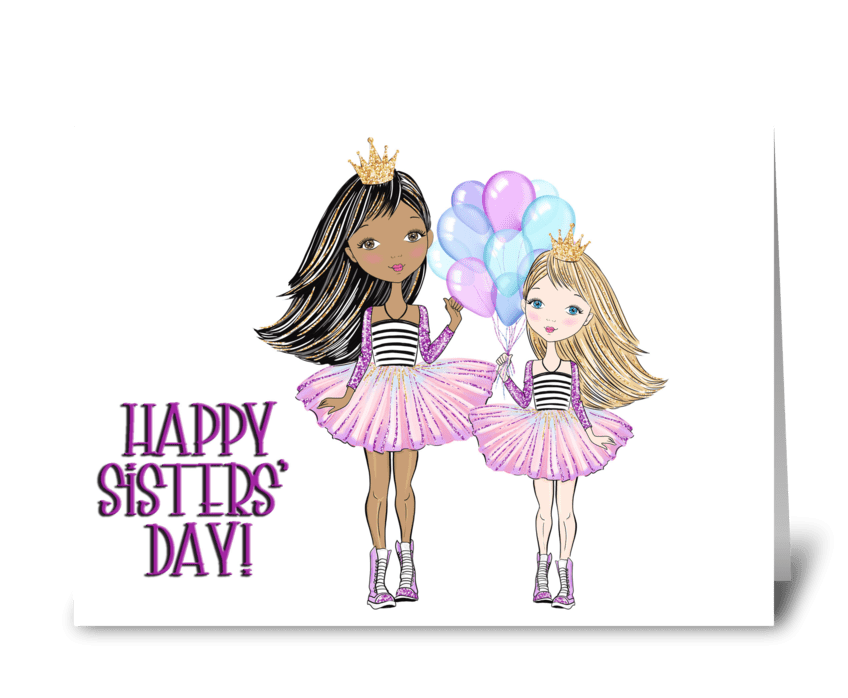 Sisters with Balloons greeting card