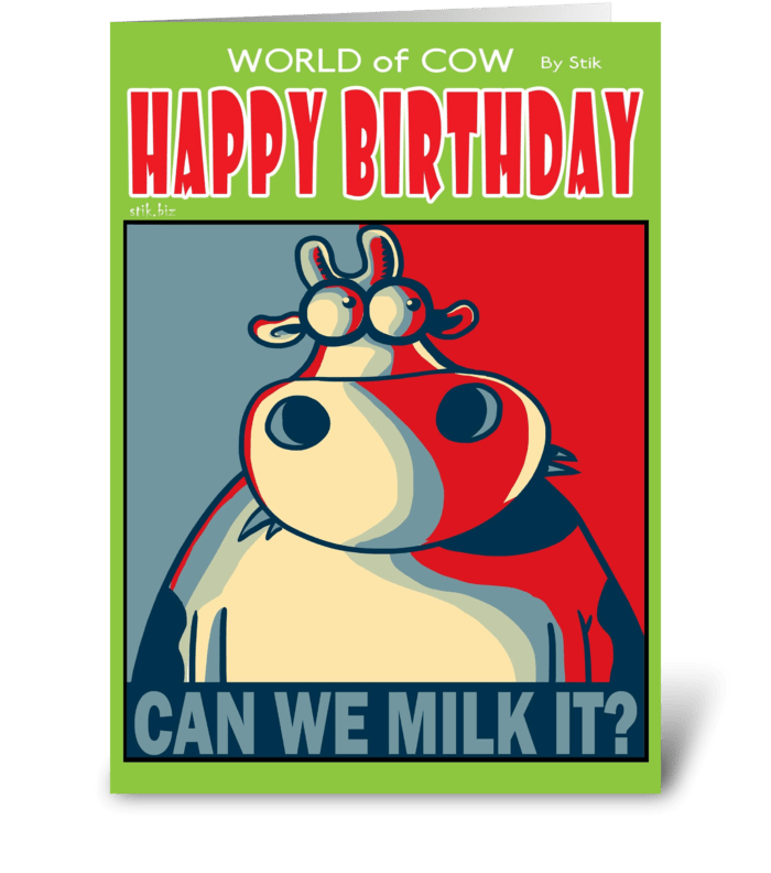 CAN WE MILK IT? greeting card
