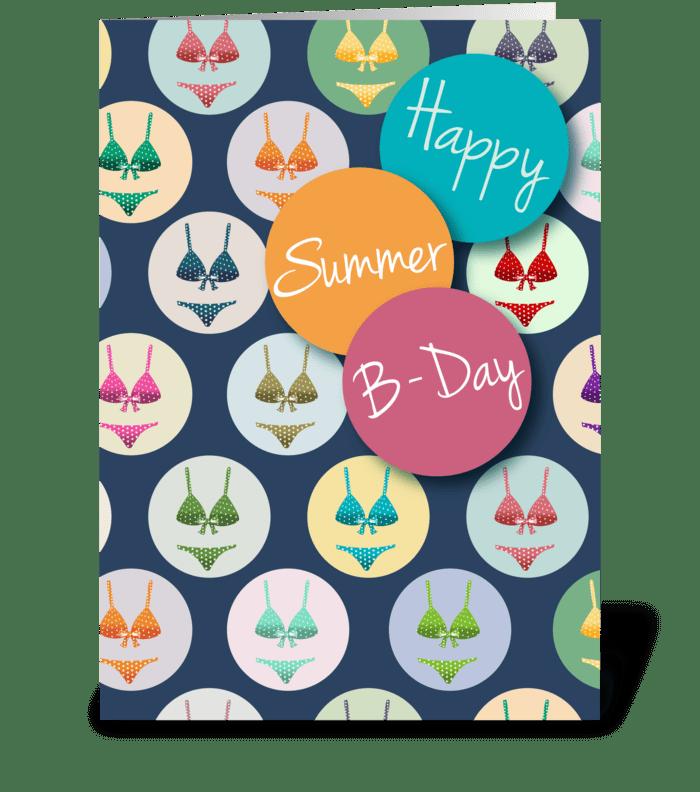 Fashionable Summer Birthday greeting card