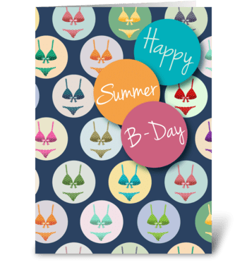 Fashionable Summer Birthday greeting card