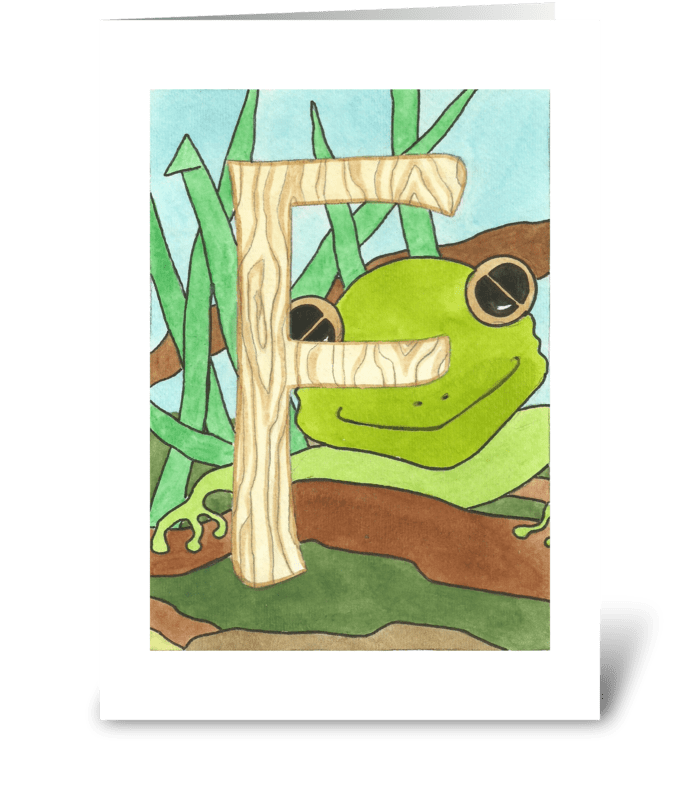 F for Frog greeting card