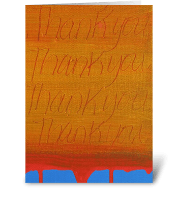 Thank You Painting - Orange on Blue greeting card