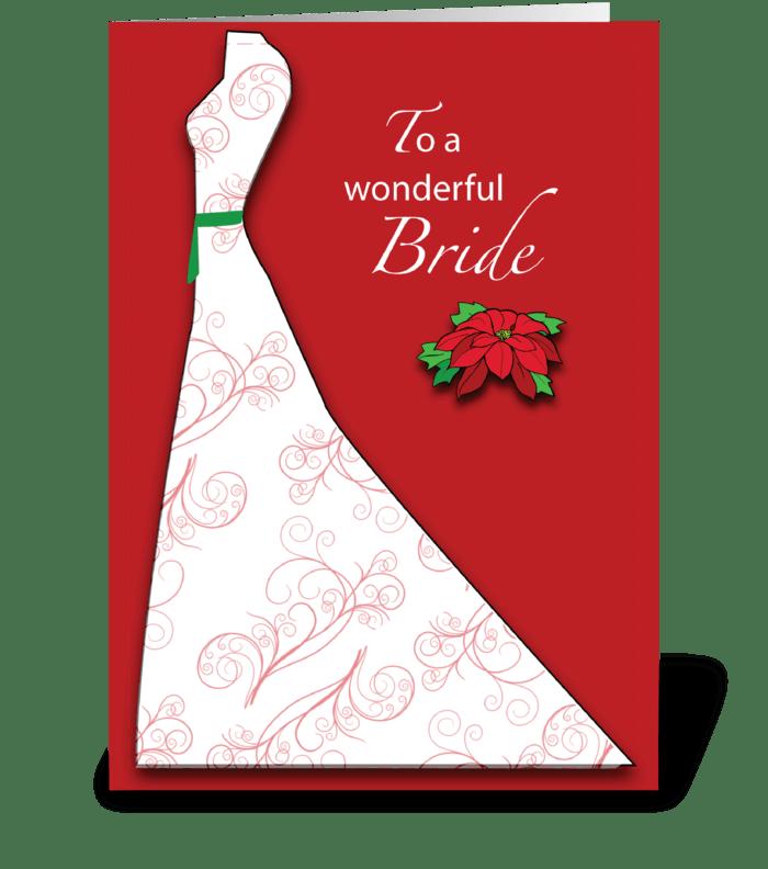Bride Bridal Shower Silhouette Christmas greeting card