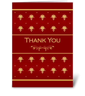 Thank You Luxury Red and Gold Damask greeting card