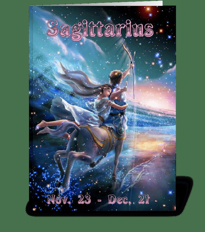 Zodiac Card Sagittarius  greeting card
