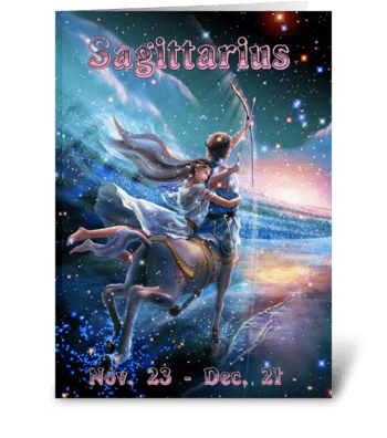 Zodiac Card Sagittarius  greeting card