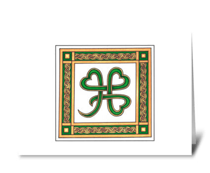 Shamrock with Heart with Hearts greeting card