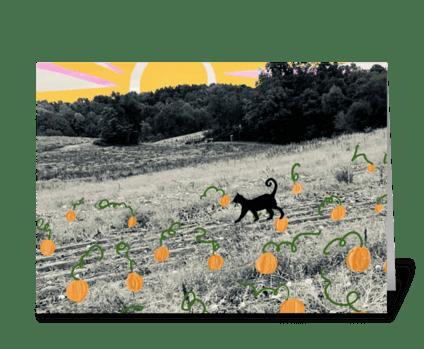 Black Cat in the Pumpkin Patch greeting card