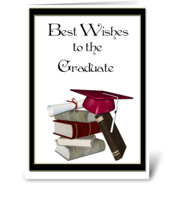Graduate Congratulations, Books, Red Cap greeting card