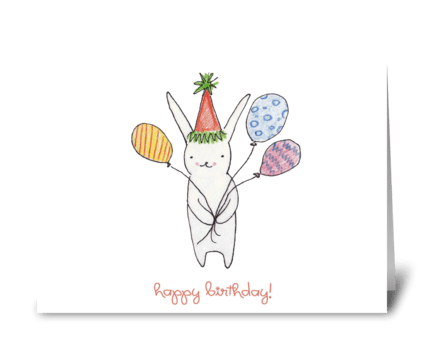 Birthday Bunny with Balloons greeting card