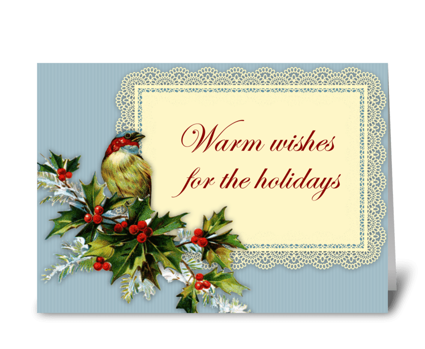 Bird & Holly Warm Wishes greeting card