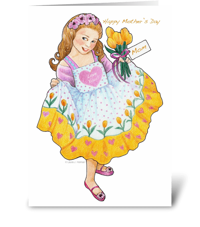 For Mom Mother's Day Girl with Tulips greeting card