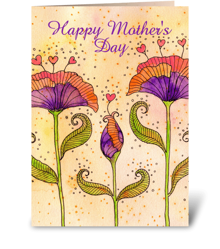 Mother's Day Whimsical Flowers greeting card