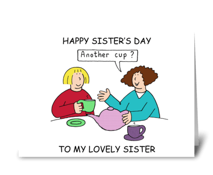 Happy Sister's Day, Cartoon Ladies. greeting card