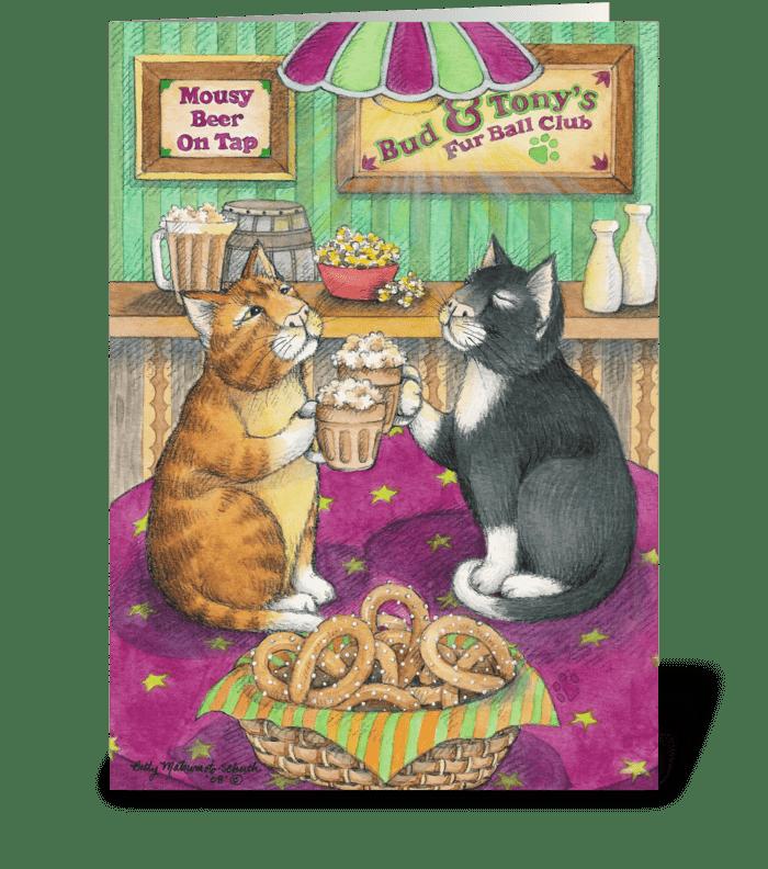 Beer Cheer Cats Birthday #35 greeting card