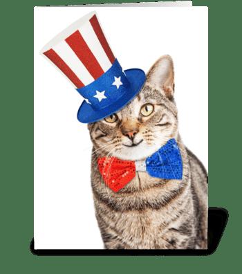 Funny American Patriotic Cat greeting card