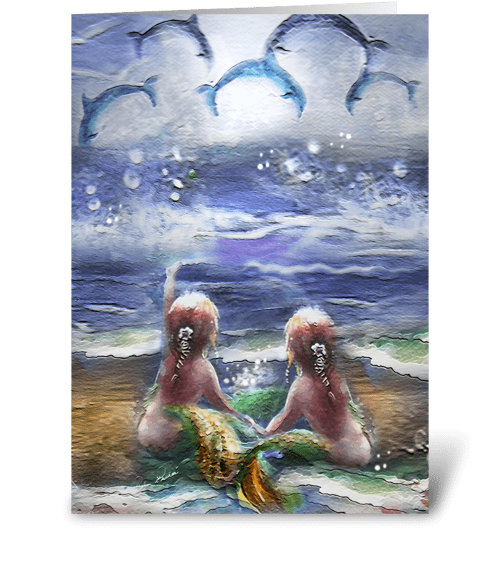 twin Mermaids and Happy Dolphins greeting card