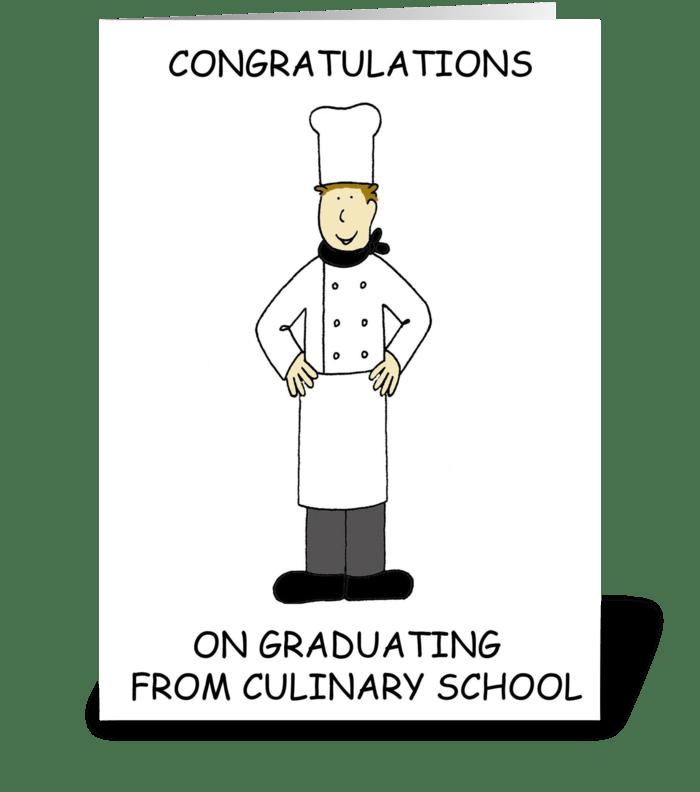 Culinary school graduate. greeting card