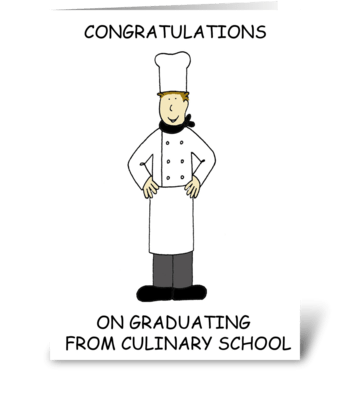 Culinary school graduate. greeting card