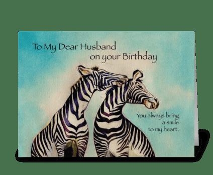 Husband Birthday Zebras greeting card