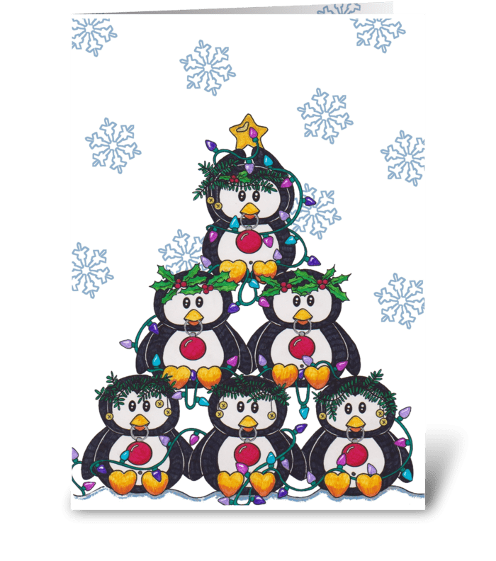 Penguin-ing to look like Chirstmas greeting card