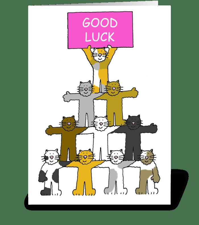 Good Luck, Cartoon Cats. greeting card