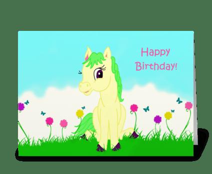 Pretty Pony Birthday Card greeting card